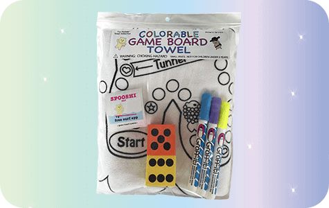 Spooshi Colorable Game Board Towel Kit/Large Dice